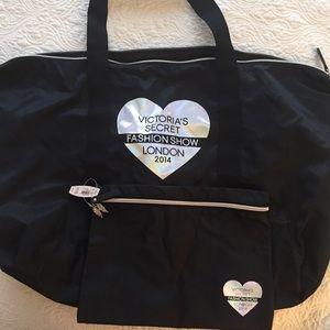 Victoria's Secret 2pc Duffle Gym Bag & Makeup Bag